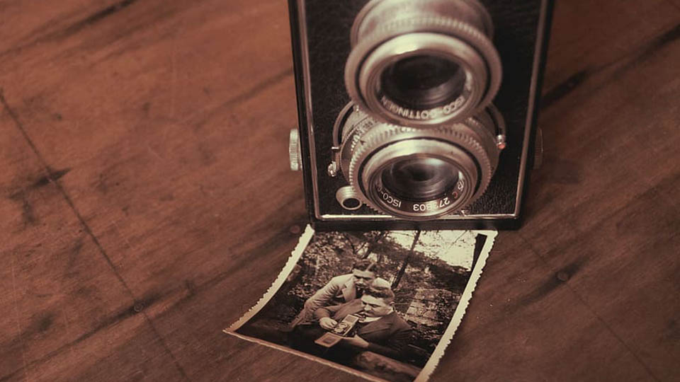 Old photograph and camera